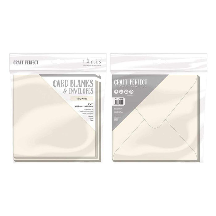 "Craft Perfect - 10 Card Blanks & Envelopes - Ivory White - 7"" x 7""- 9303E - tonicstudios"