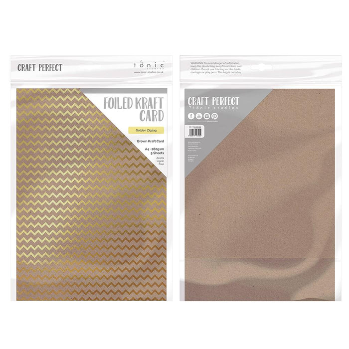 Craft Perfect - Foiled Kraft Card - Golden Zig Zag - A4 (5/pk) - tonicstudios