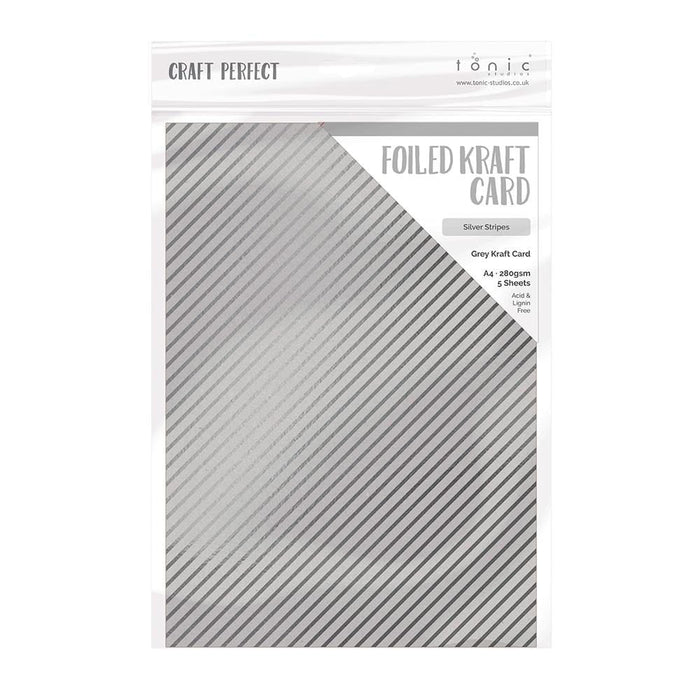 Craft Perfect - Foiled Kraft Card - Silver Stripes - A4 (5/pk) - tonicstudios