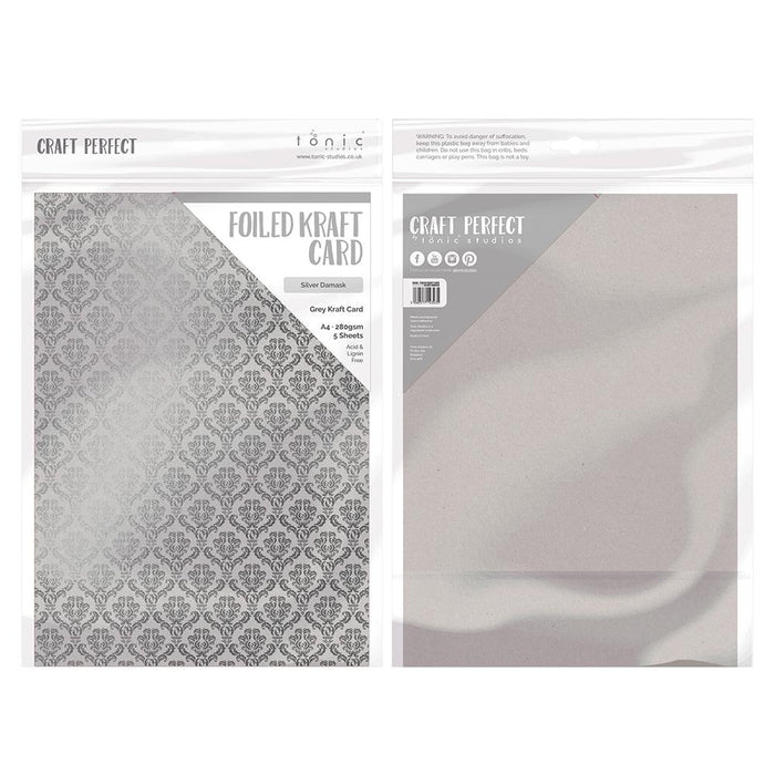 Craft Perfect - Foiled Kraft Card - Silver Damsak - A4 (5/pk) - tonicstudios