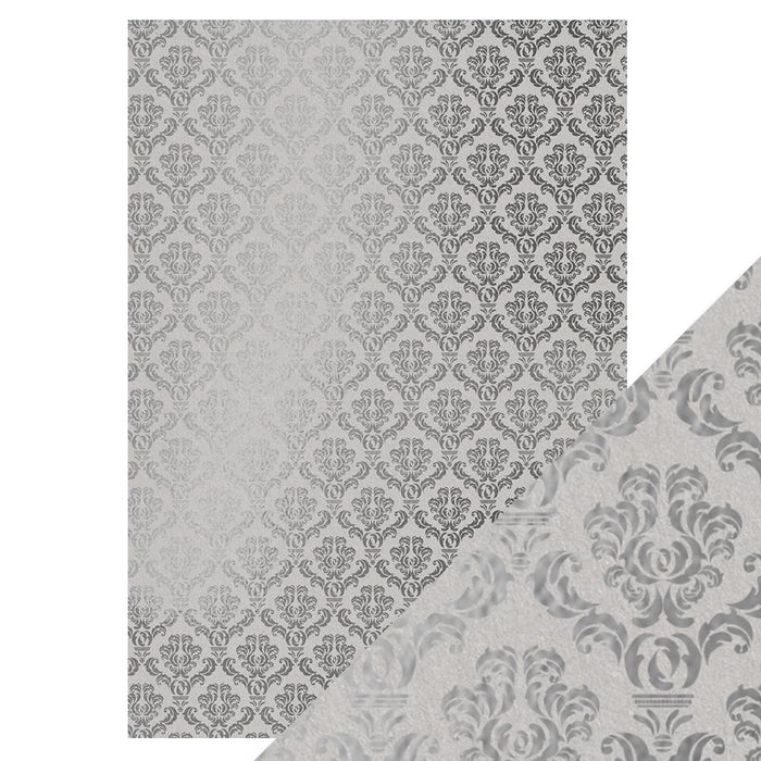 Craft Perfect - Foiled Kraft Card A4 - Silver Damask (5/pk) - 9343e
