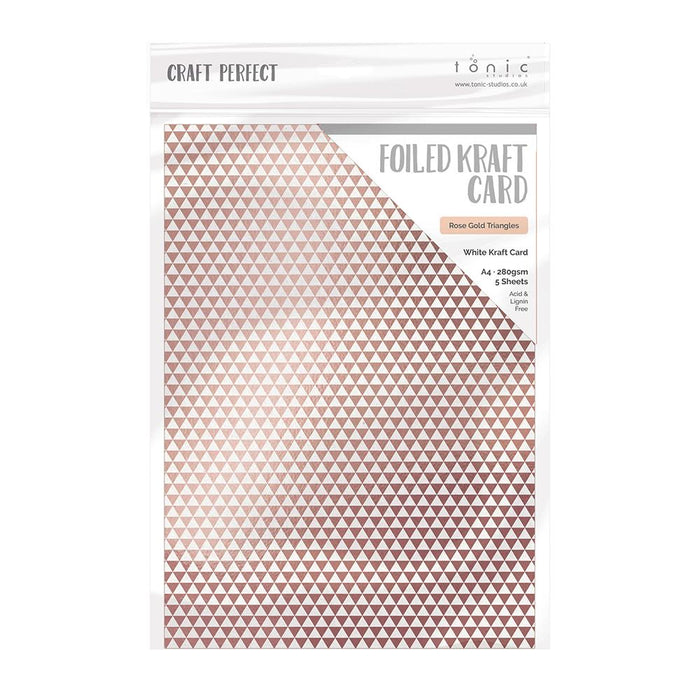 Craft Perfect - Foiled Kraft Card - Rose Gold Triangles - A4 (5/pk) - tonicstudios