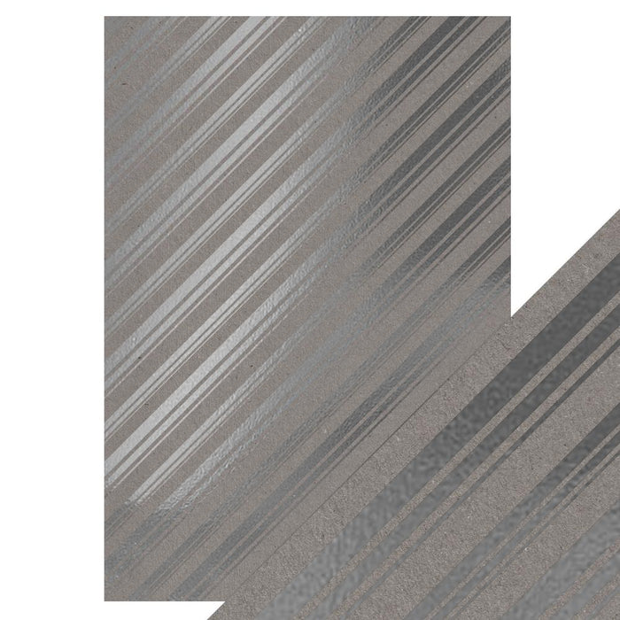 Craft Perfect - Foiled Kraft Card - Silver Strokes - A4 (5/pk) - 9348e - tonicstudios