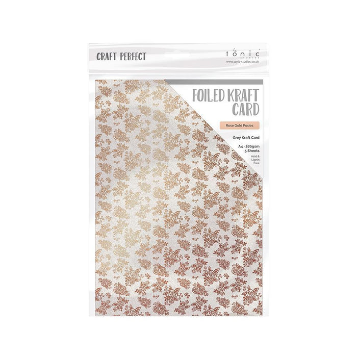 Craft Perfect - Foiled Kraft Card A4 - Rose Gold Posies (5/pk) - 9349e