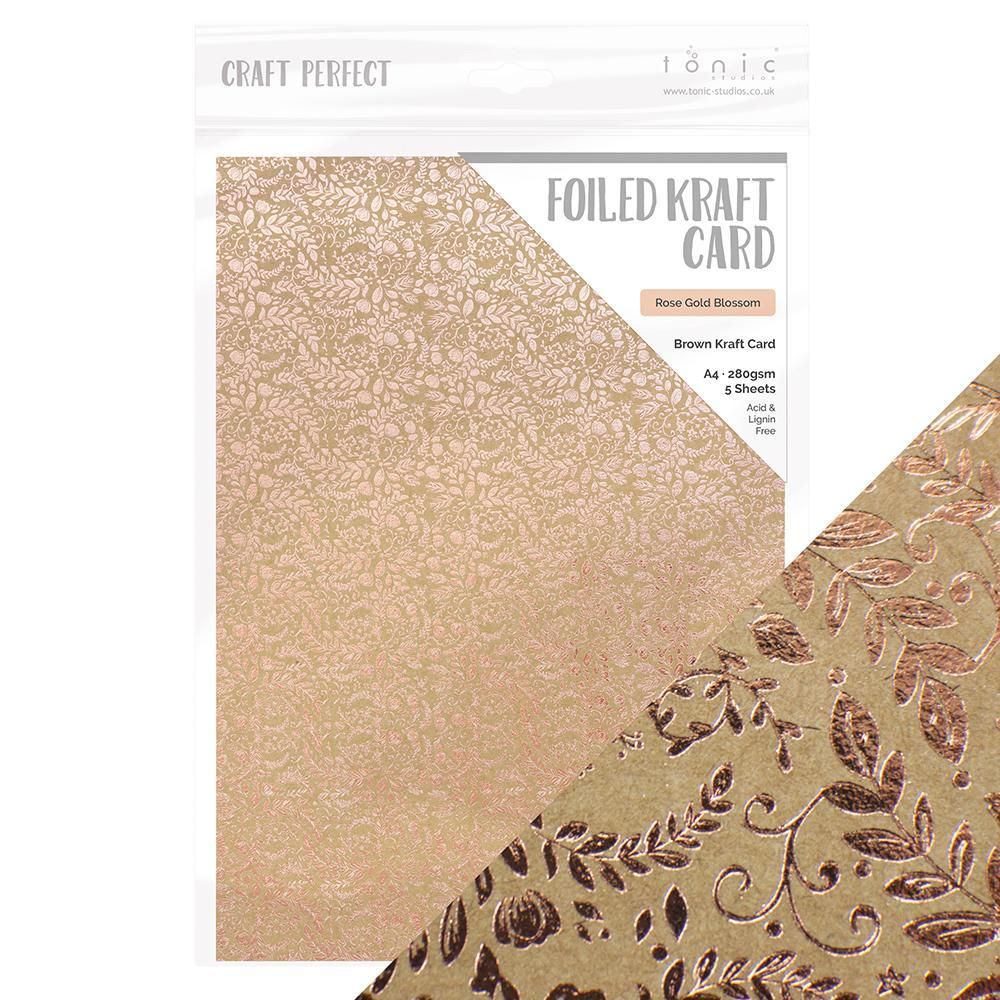 Craft Perfect - Foiled Kraft Card A4 - Rose Gold Blossom (5/PK) - 9350e