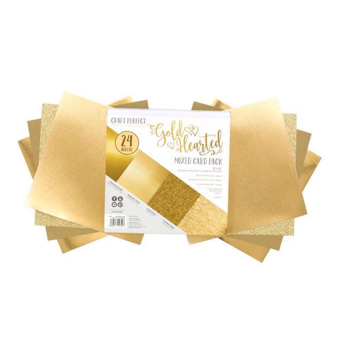 "Craft Perfect - 6""x6"" Card Packs - Gold Hearted - 9394e"