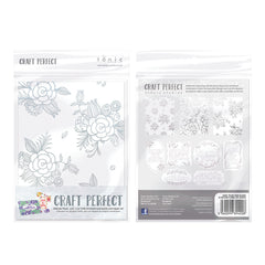 Craft Perfect - Foiled Card Blanks - Delicate Floral Set - Gold - 9400E