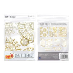 Craft Perfect - Foiled Card Blanks - Intricate Henna Set Gold - 9401E