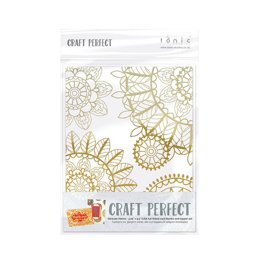 Craft Perfect - Foiled Card Blanks - Intricate Henna Set Gold - 9401e - tonicstudios