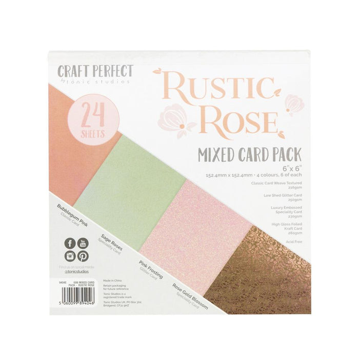 Craft Perfect - 6x6 Mixed Card Packs - Rustic Rose - 9404E