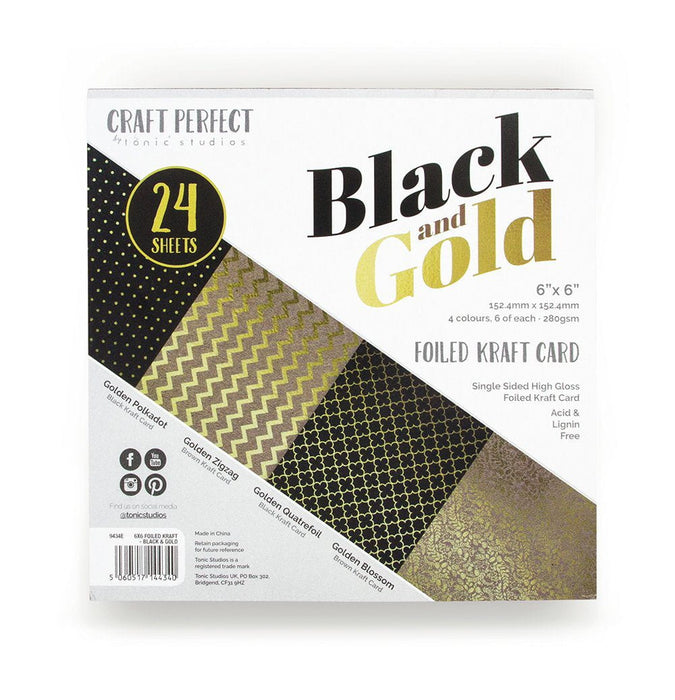 Craft Perfect - 6x6 Card Packs - Black & Gold - tonicstudios