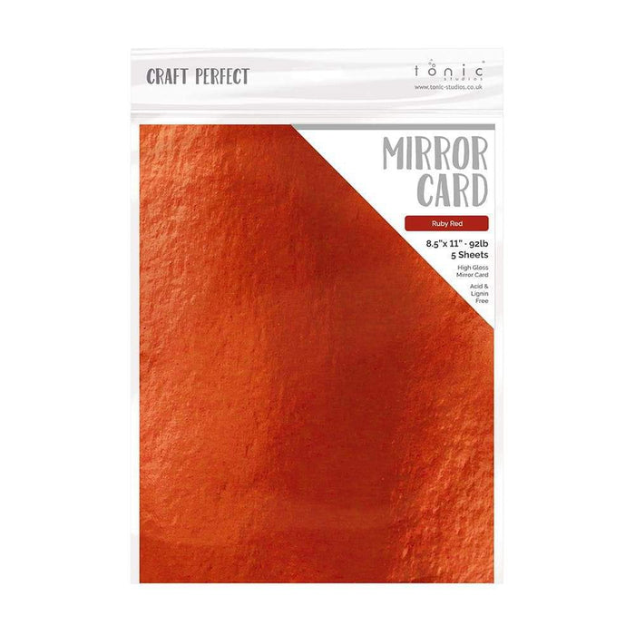 "Craft Perfect - Mirror Card Gloss - Ruby Red - 8.5"" x 11"" (5/PK) - 9453e - tonicstudios"