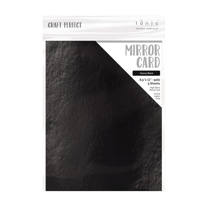"Craft Perfect - Mirror Card Gloss - Glossy Black - 8.5"" x 11"" (5/PK) - tonicstudios"