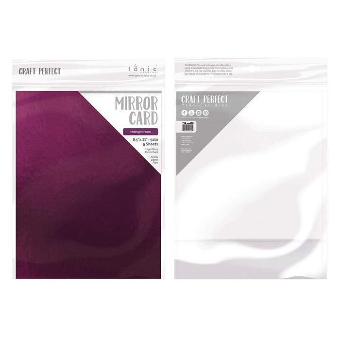 "Craft Perfect - Mirror Card Gloss - Midnight Plum - 8.5"" x 11"" (5/PK) - 9460e - tonicstudios"
