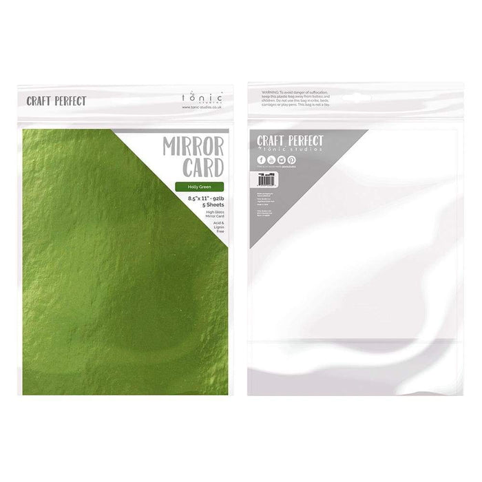 "Craft Perfect - Mirror Card Gloss - Holly Green - 8.5"" x 11"" (5/PK) - tonicstudios"