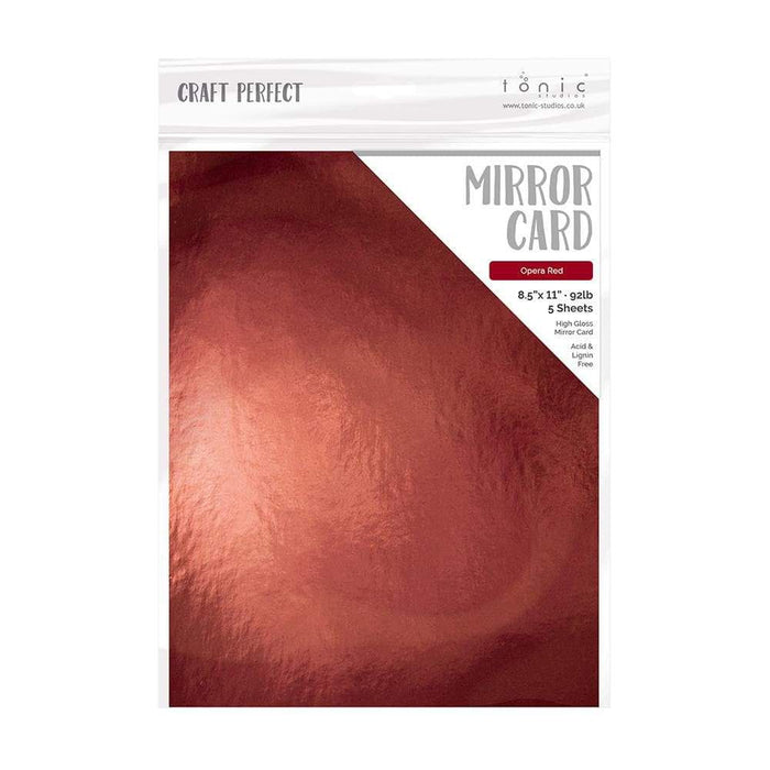 "Craft Perfect - Mirror Card Gloss - Opera Red - 8.5"" x 11' (5/PK) - tonicstudios"