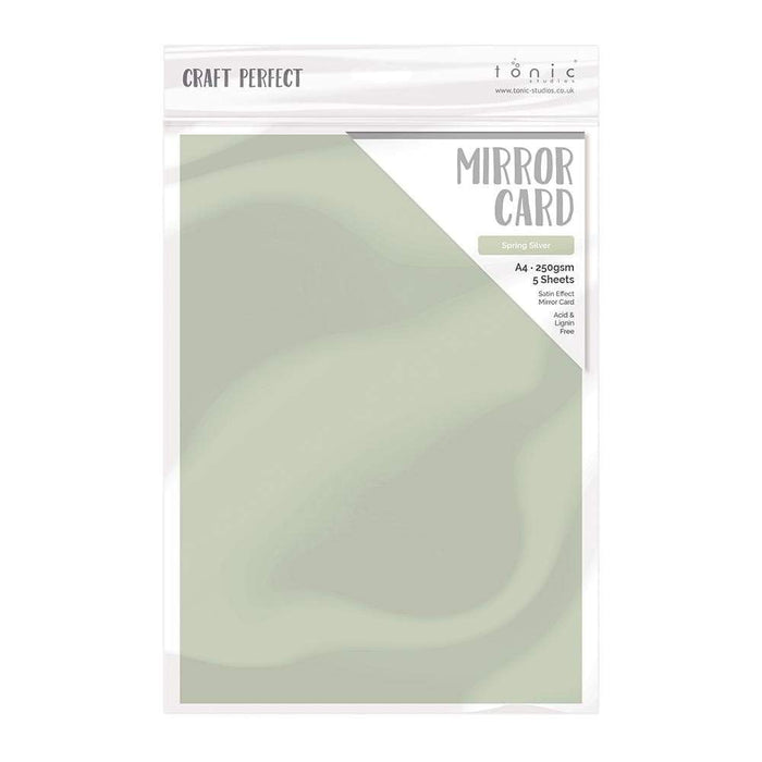 "Craft Perfect - Mirror Card Satin - Spring Silver - 8.5"" x 11"" (5/PK) - 9492e - tonicstudios"