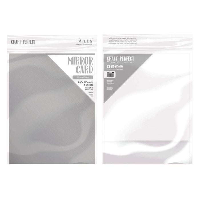 "Craft Perfect - Mirror Card Satin - Frosted Silver - 8.5"" x 11"" (5/PK) - 9482e - tonicstudios"