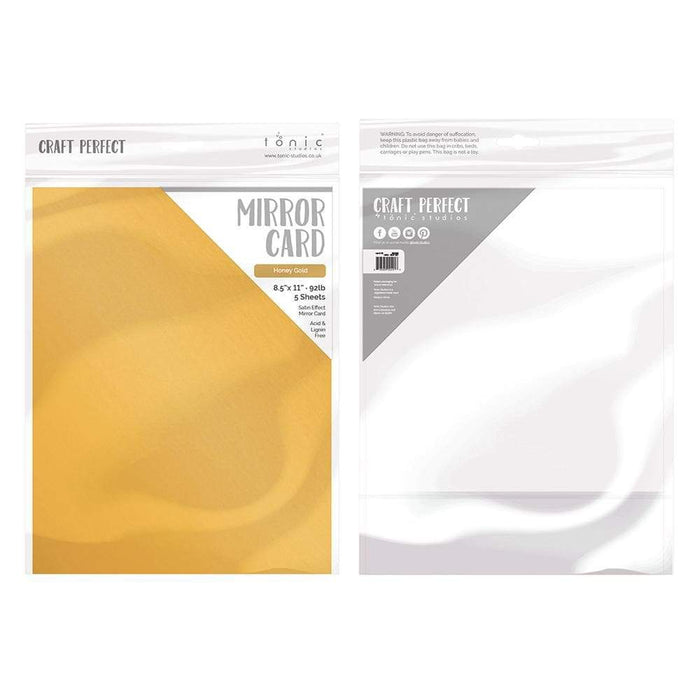 "Craft Perfect - Mirror Card Satin - Honey Gold - 8.5"" x 11"" (5/PK) - 9487e - tonicstudios"