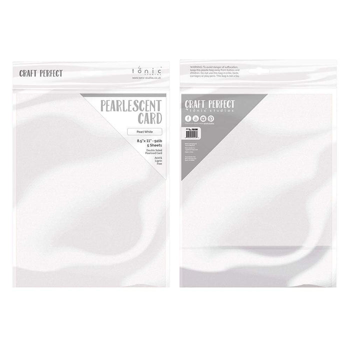 "Craft Perfect - Pearlescent Card - Pearl White - 8.5"" x 11"" (5/PK)  - 9527e - tonicstudios"