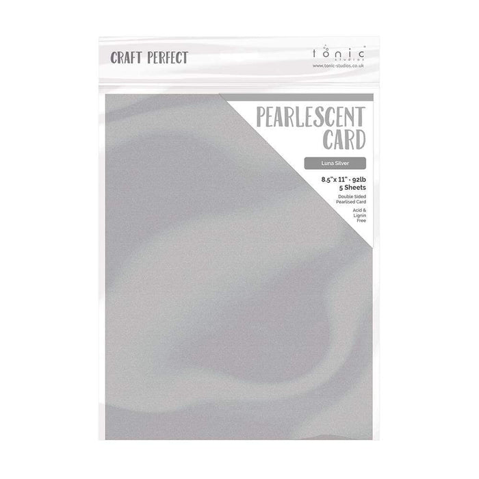 "Craft Perfect - Pearlescent Card - Luna Silver - 8.5"" x 11"" (5/PK) - tonicstudios"