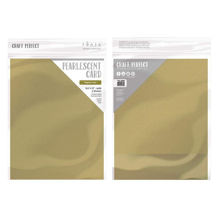 "Craft Perfect - Pearlescent Card - Majestic Gold - 8.5"" x 11"" (5/PK) - 9530E - tonicstudios"