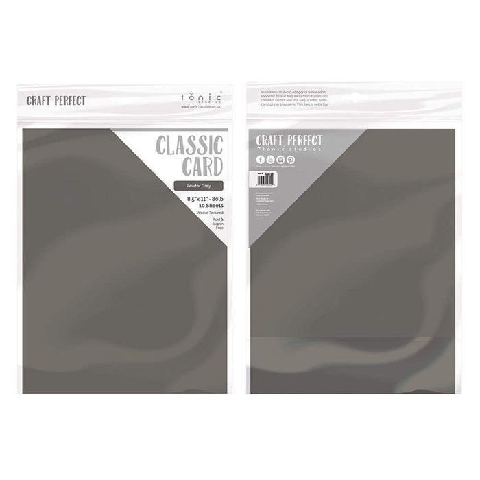 "Craft Perfect - Classic Card - Pewter Grey - Weave Textured - 8.5"" x 11"" (10/PK) - tonicstudios"