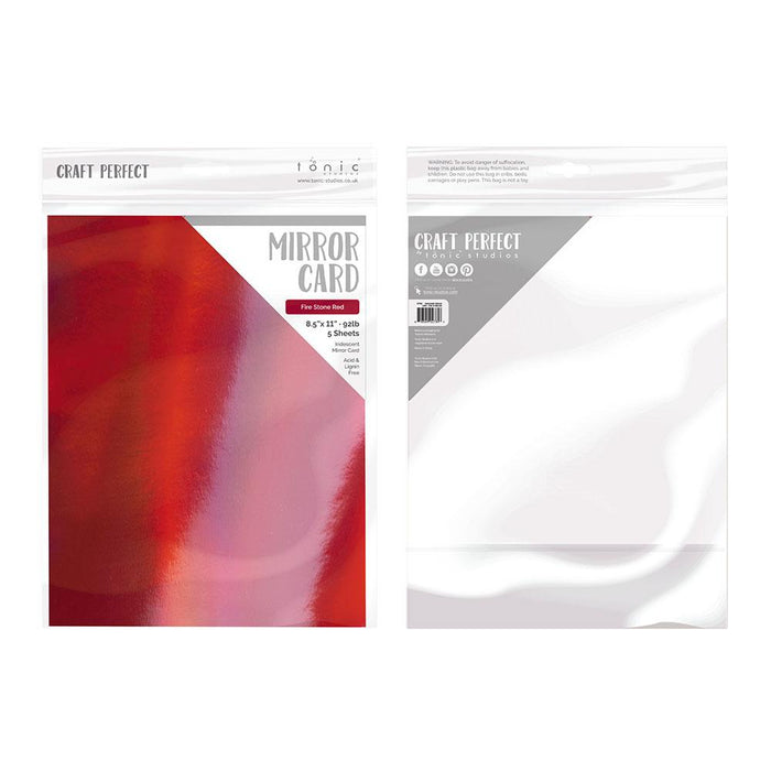 "Craft Perfect - Iridescent Mirror Card 8.5""x11"" - Fire Stone Red - (5/PK) - 9785e"