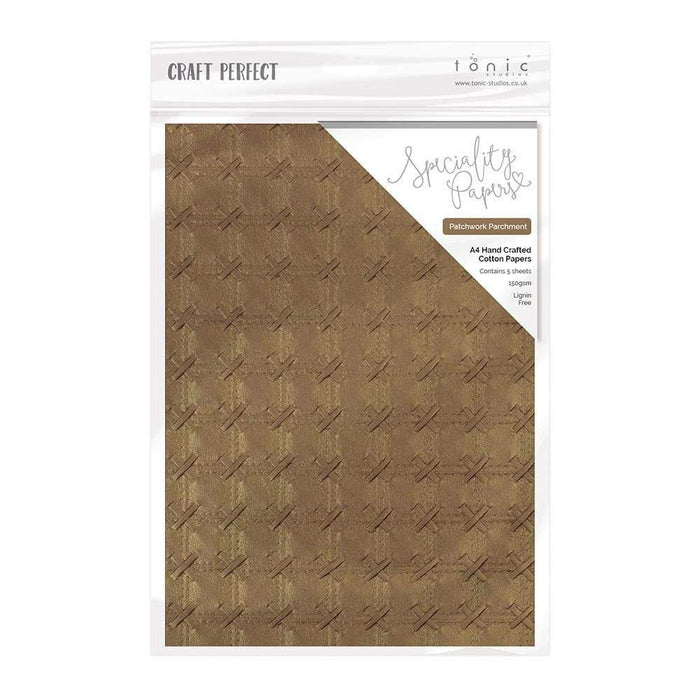Craft Perfect - Hand Crafted Cotton Paper - Patchwork Parchment - A4(5/PK) - tonicstudios