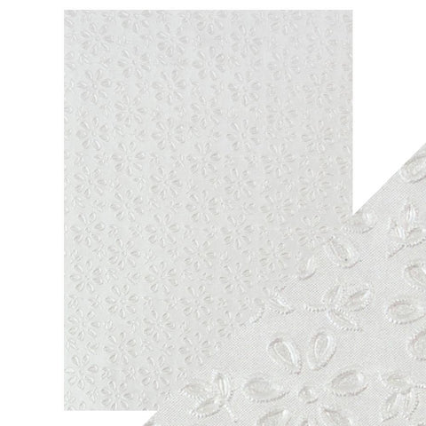 Craft Perfect - A4 Embossed Cotton Paper - English Lace - 9801e