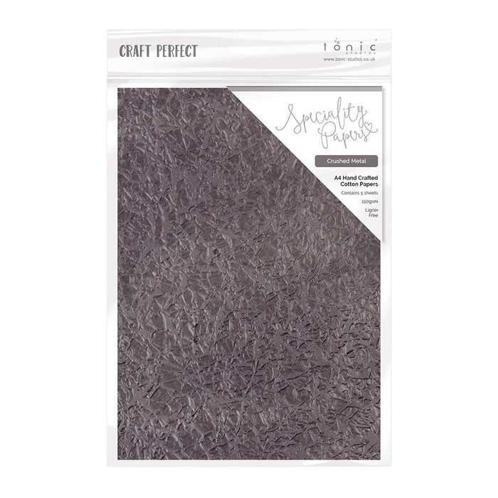 Craft Perfect - Hand Crafted Cotton Paper - Crushed Metal - A4(5/PK) - tonicstudios