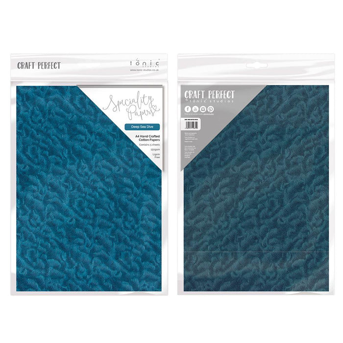 Craft Perfect - Hand Crafted Cotton Paper - Deep Sea Dive - A4(5/PK) - tonicstudios
