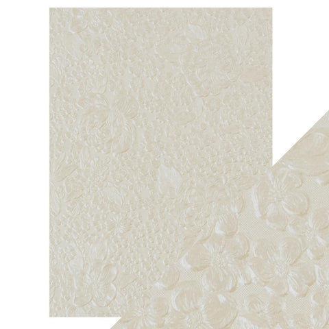 Ivory Bouquet - Hand Crafted Embossed Cotton Paper- A4 - 150 gms/55 lbs -  9807e