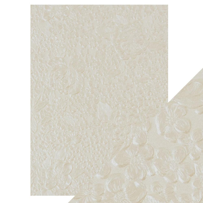Craft Perfect - Hand Crafted Cotton Paper - Ivory Bouquet - A4(5/PK) - 9807e - tonicstudios