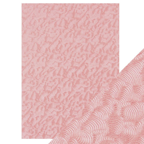 Craft Perfect - A4 Hand Crafted Embossed Cotton Paper - Pink Champagne -  9811e