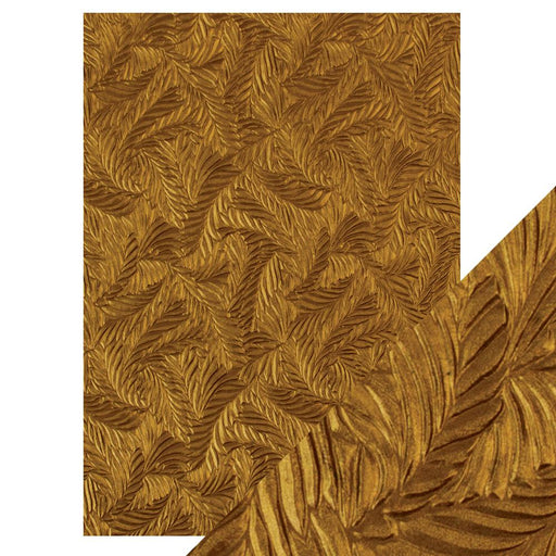 Craft Perfect - Hand Crafted Cotton Paper - Copper Feathers - A4(5/PK) - 9815e - tonicstudios