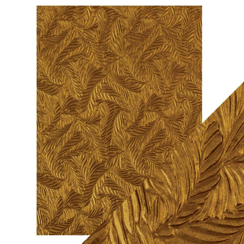 Craft Perfect - A4 Embossed Cotton Paper- Copper Feathers - 9815e
