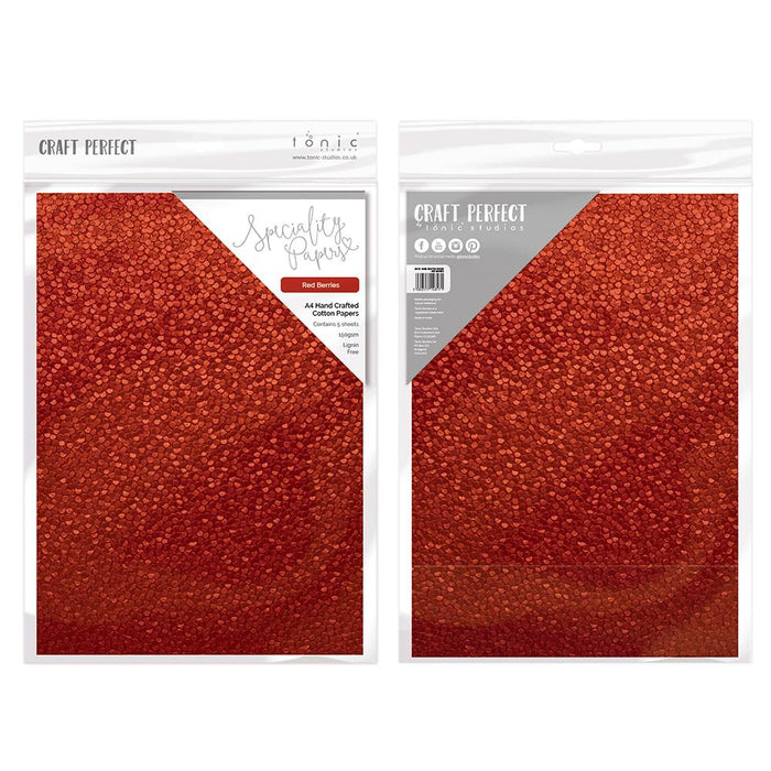 Craft Perfect - Hand Crafted Cotton Paper - Red Berries - A4 (5/PK) - tonicstudios