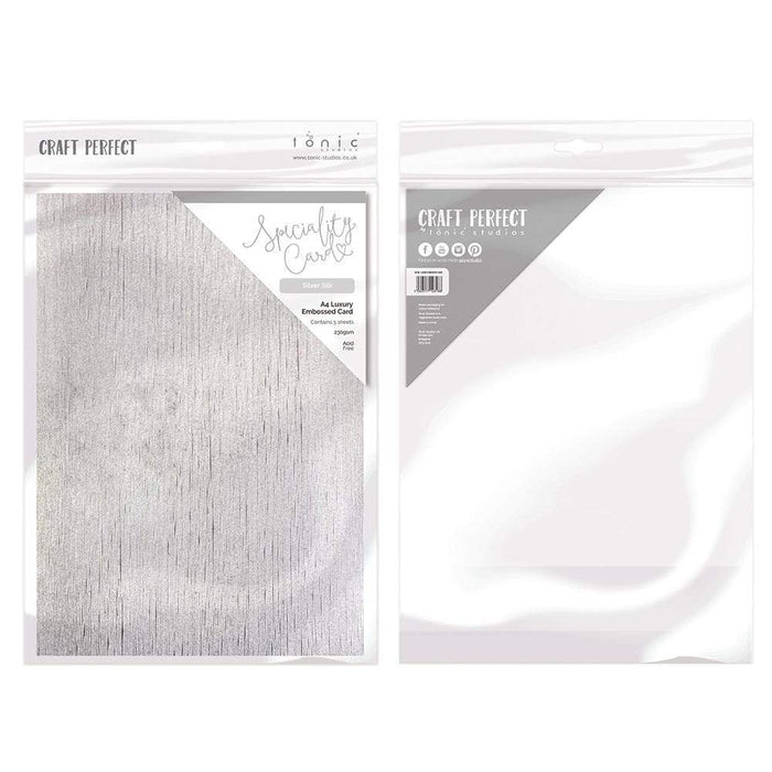Craft Perfect - Luxury Embossed Card - Silver Silk - A4 (5/PK) - tonicstudios