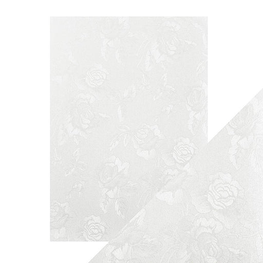 Craft Perfect - Luxury Embossed Card - Ivory Toile - A4 (5/PK) - 9823e - tonicstudios