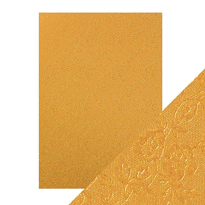 Craft Perfect - Luxury Embossed Card - Honey Gold Roses - A4 (5/PK) - 9829e - tonicstudios