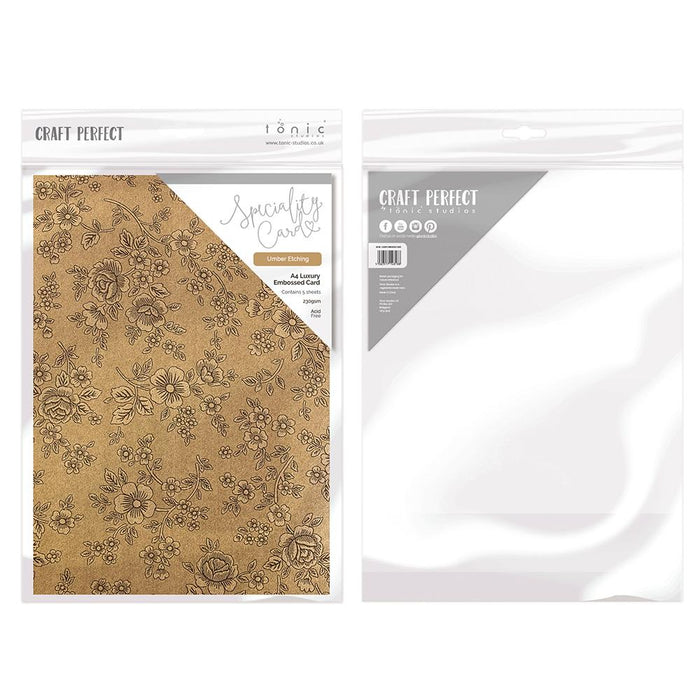 Craft Perfect - Luxury Embossed Card - Umber Etching - A4 (5/PK) - tonicstudios