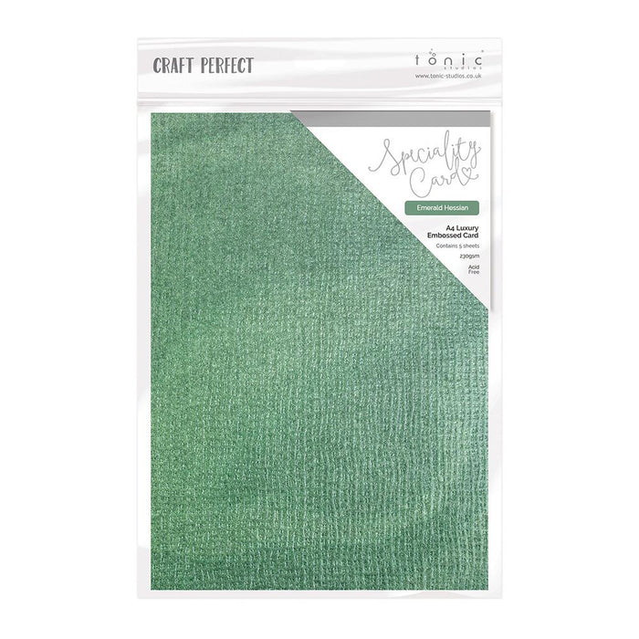 Craft Perfect - Speciality Card - Luxury Embossed - Emerald Hessian - A4 - 5 Pack - 9835E - tonicstudios
