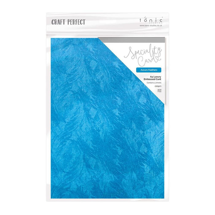 Craft Perfect - Luxury Embossed Card - Azzuro Feathers - A4 (5/PK) - 9838e - tonicstudios