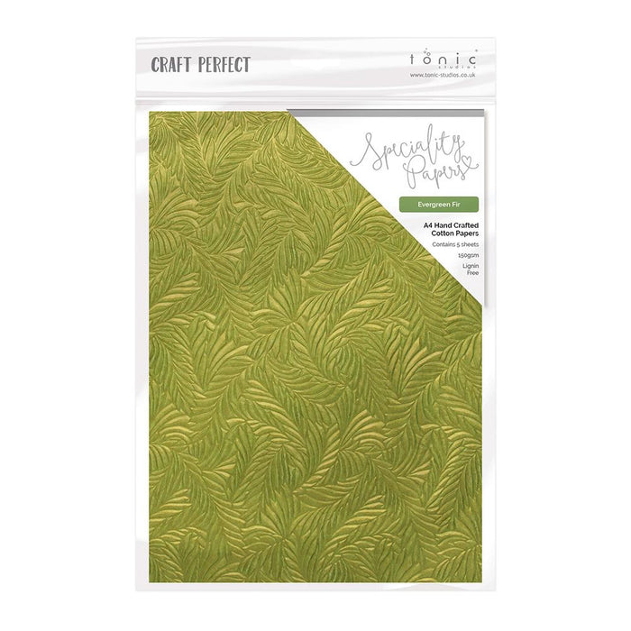 Craft Perfect - Hand Crafted Cotton Paper - Evergreen Fir - A4 (5/PK) - tonicstudios