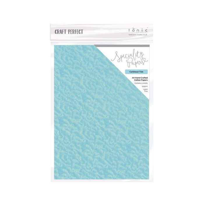 Craft Perfect - Hand Crafted Cotton Paper - Caribbean Tide - A4(5/PK) - tonicstudios