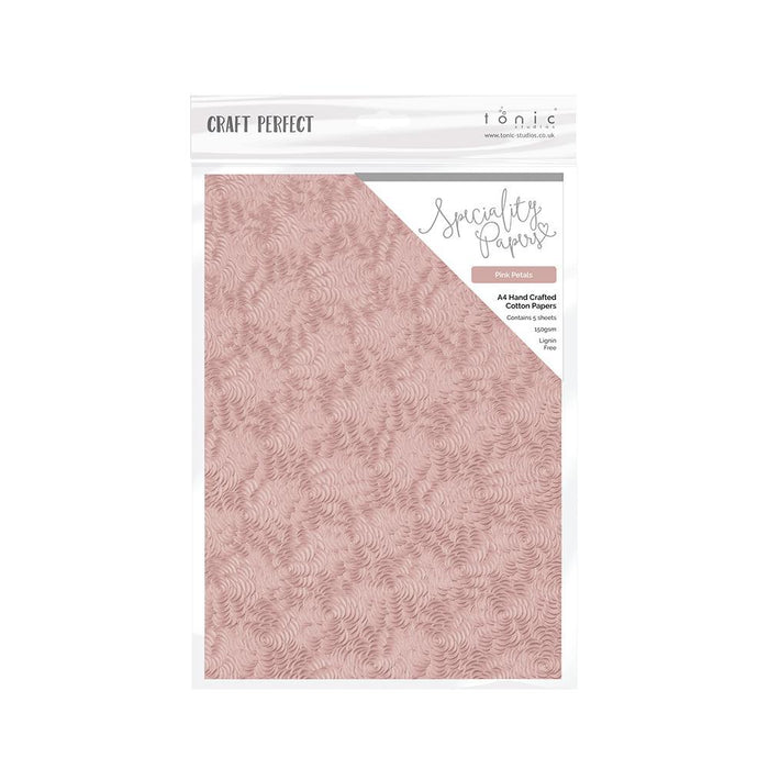Craft Perfect - Speciality Card - Hand Crafted Cotton A4 - Pink Petals (5/PK) - 9884e