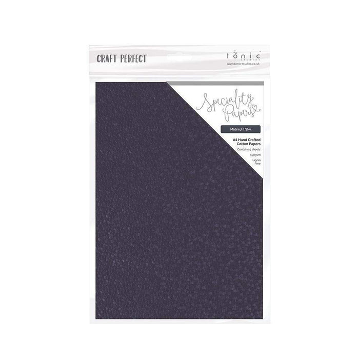 Craft Perfect - Hand Crafted Cotton Paper  - Midnight Sky - A4(5/PK) - 9885e
