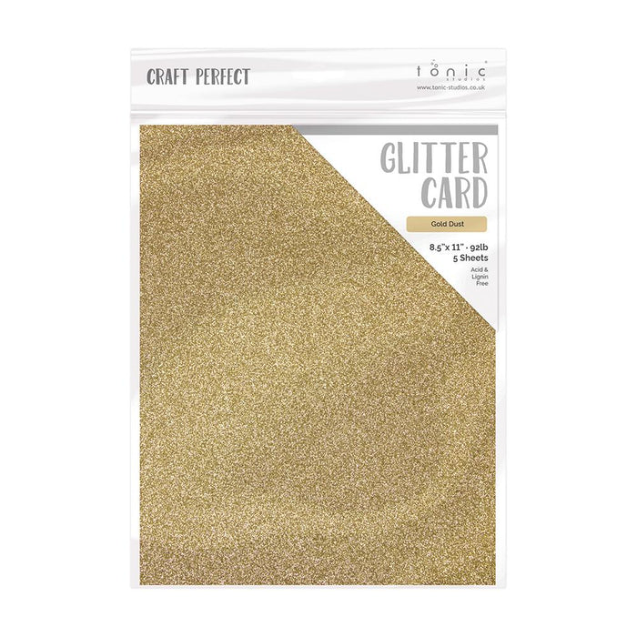 "Craft Perfect - Glitter Card - Gold Dust - 8.5"" x 11"" (5/PK) - tonicstudios"
