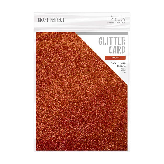 "Craft Perfect - Glitter Card - Ruby Ritz - 8.5"" x 11"" (5/PK) - tonicstudios"